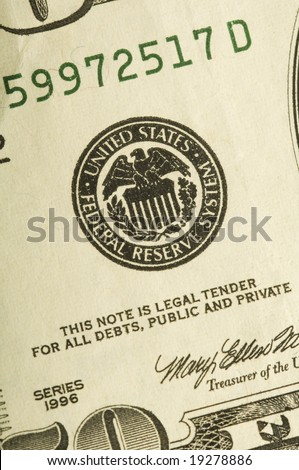 a fifty dollar bill showing the federal reserve icon - stock photo