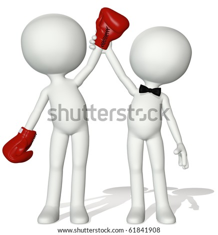 A fight referee holds up the hand of Winning Boxer