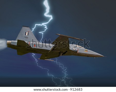 A fighter plane on a stormy sky - stock photo