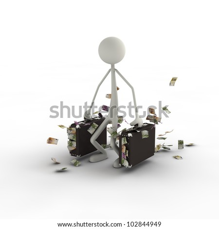 a figure is carrying its suitcase with money in it - stock photo