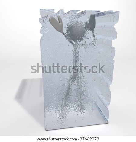 a figure is frozen in an ice cube - one hand stretched out - stock photo