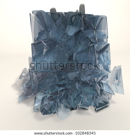 a figure is frozen in an ice cube that is breaking - stock photo