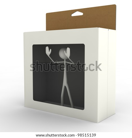 a figure is imprisoned in a box - stock photo