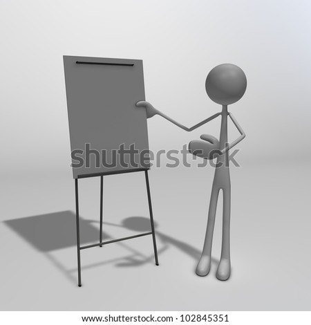 a figure standing next to a flipchart and pointing at it - stock photo