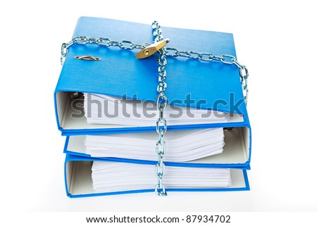 a file folder with chain and padlock closed. privacy and data security. - stock photo