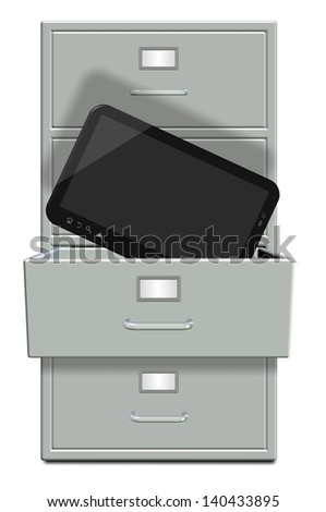 A filing cabinet with one draw open and computer tablet in it / Filing cabinet and computer tablet