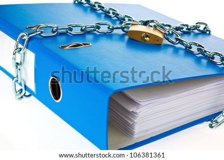 a filing with chain and padlock closed. privacy and data security. - stock photo