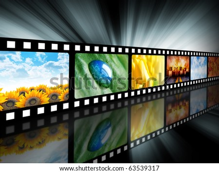 A film reel has different nature photo images on it and there is a glowing black background. Use it for a media technology concept. - stock photo