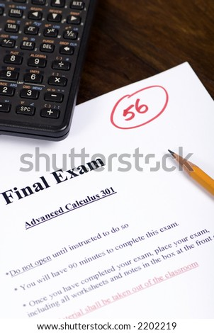 """A final exam with a """"Not so good score""""  now you can just hope for a curve. - stock photo"""