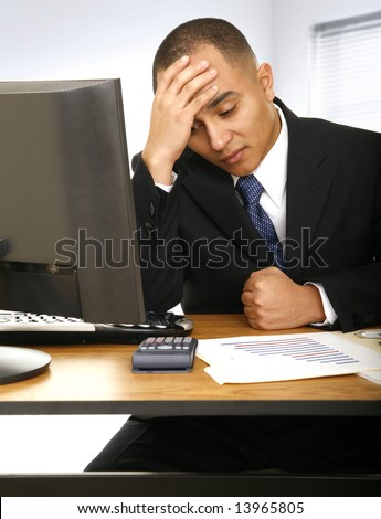 a financial advisor hit table with his hand and showing disappointing expression - stock photo