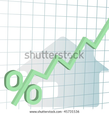 A financial chart tracks home mortgage interest rate percent higher. - stock photo