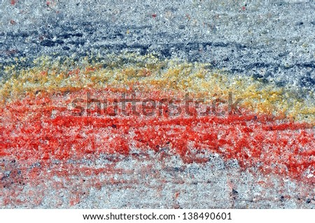 A Fine Art Macro Abstract Photograph Of Paint Smears On Concrete Background Depicting A Rainbow - stock photo