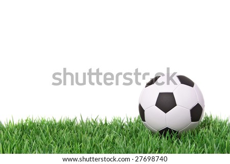 A fine green meadow with a soccer ball on it. All on white background. - stock photo