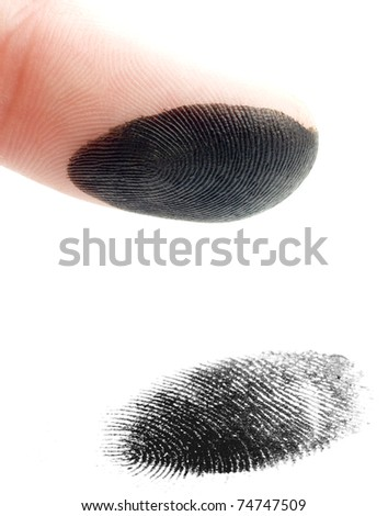 a finger giving a fingerprint on a white background - stock photo