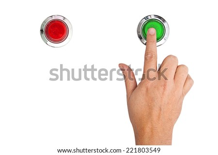 A finger pressing a green start button on white background - stock photo