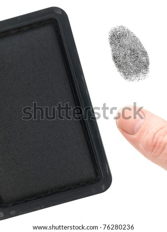 A finger print and a stamp pad isolated against a white background - stock photo
