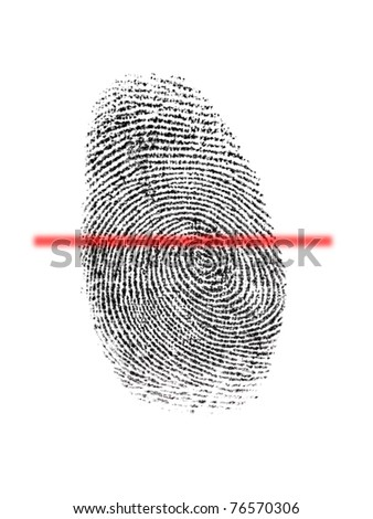 A finger print isolated against a white background - stock photo