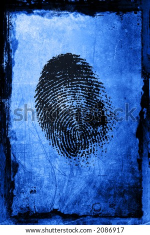 A fingerprint on a textured grunge background - stock photo