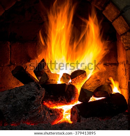 A fire burns in a fireplace.