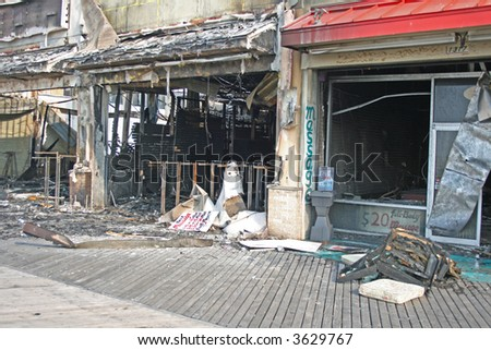 A fire destroyed five stores on the Atlantic City Board Walk - stock photo