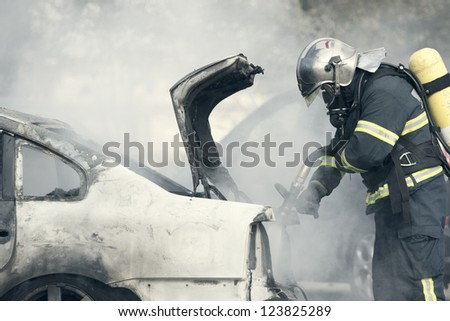a fire emergency, putting out a fire