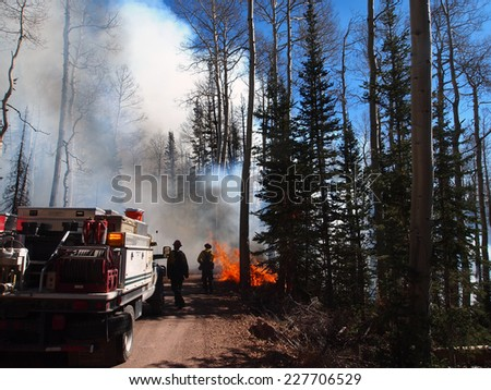 A fire engine responds to a wildfire in the forest.