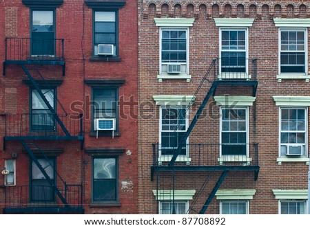 A fire escape of an apartment building in New York city - stock photo
