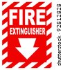 A fire extinguisher location sign for use in any safety inference. - stock photo