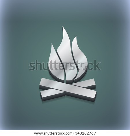 A fire icon symbol. 3D style. Trendy, modern design with space for your text illustration. Raster version - stock photo