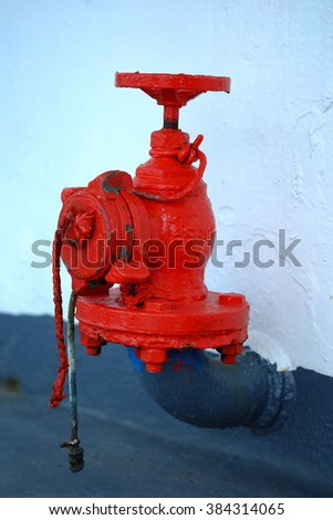 A fire nozzle on a boat. - stock photo