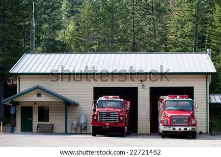 A fire station in a remote forest - stock photo