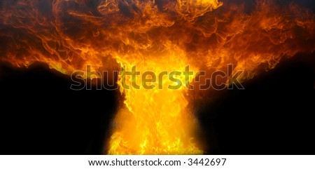 A fireball explosion isolated on black - stock photo
