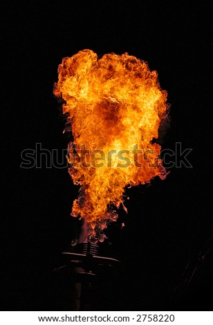 A fireball out of a balloon-burner. - stock photo