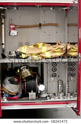 A Firetruck at the scene of an emergency - stock photo