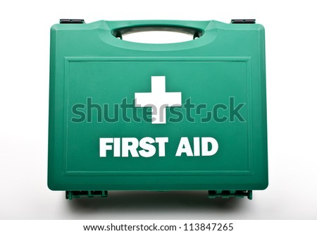 A First Aid Box on a white background. - stock photo