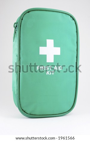 A first aid kit on white