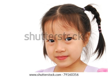 A first grade asian child on charming - stock photo
