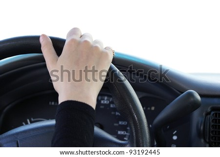 A first person view of driving a vehicle. - stock photo