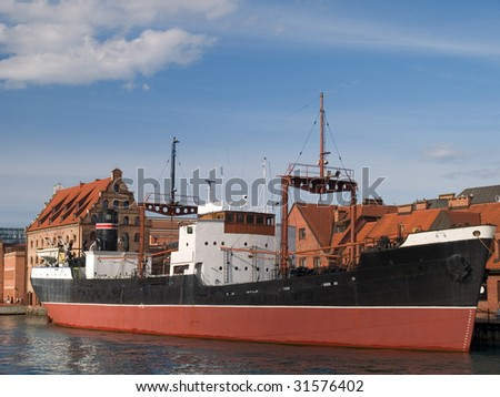 A first ship build in Poland after WWII - stock photo