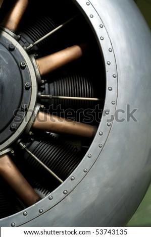 A First World War fighter aircraft engine - stock photo