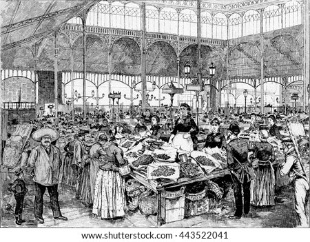 A Fish Market in Paris, France. Vintage engraving.