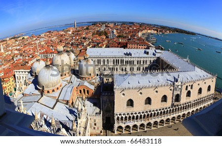 A fisheye view of Venice, Italy, looking east over San Marco (St Mark's) cathedral in the heart of the ancient city. - stock photo