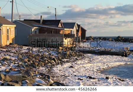 A fishing village abandoned for the winter. - stock photo