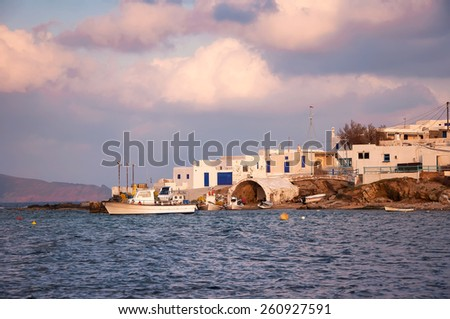 A fishing village near the Mediterranean Sea - Mykonos, Greece. - stock photo
