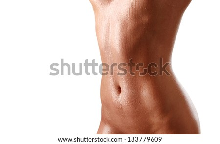 A fit stomach isolated on white background