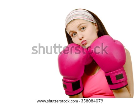 a fitness woman with the pink boxing gloves