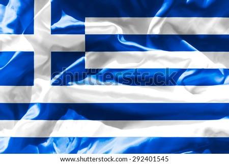 A flag Greece shiny - stock photo