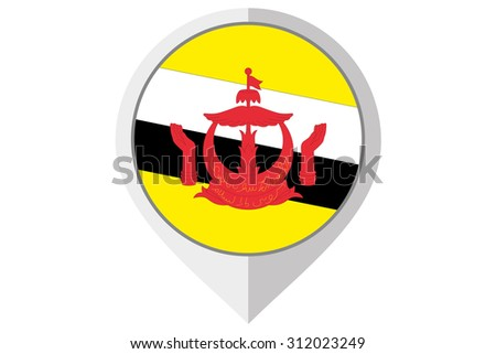 A Flag Illustration inside a pointed of the country of Brunei