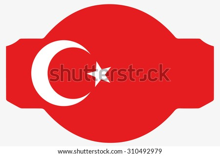 A Flag Illustration inside a Rosette of the country of Turkey