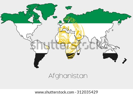A Flag Illustration inside the shape of a world map of the country of  Afghanistan